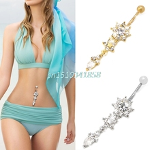 Chic Flower Rhinestone Dangle Navel Belly Button Ring Bar Body Piercing Jewelry #Y51#(China)