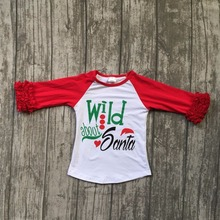 new children Christmas raglans baby girls wild about Santa raglans top shirts t-shirt red sleeve kids wear(China)