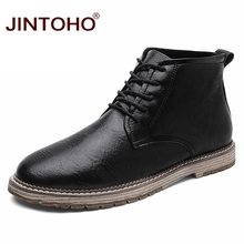 JINTOHO (High) 저 (Quality Men 가죽 Boots 패션 Genuine Leather Winter Men Shoes Winter 눈 Boots 대 한 Men Brand 발목 남성 부츠(China)