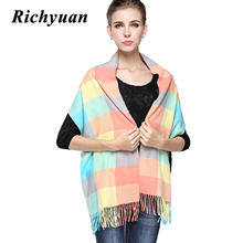 New Fashion Winter Scarf Cashmere Women's Scarf New Designer Autumn Men Wool Plaid Bandana Scarves and Wraps(China)