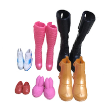 6 pairs  Fashion Doll Shoes for Barbie Kelly Doll for barbie Ken Friend boot Plastic Toys Girl Gift