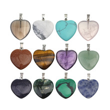 LINSOIR 5pcs/lot Heart Natural Stone Druzy Pendants 20*20mm Turquoises Agates Rose Quartzs Pendants Charm For Diy Jewelry Making(China)