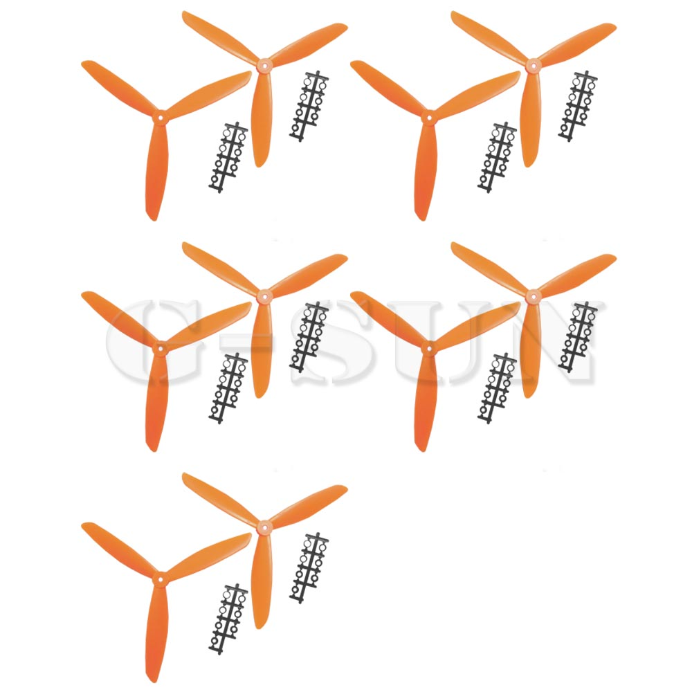 Three 3 Blade Propeller 1045 10*4.5 CW CCW for Quad Multicopter Orange 10PCS=5 Pairs<br><br>Aliexpress