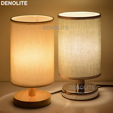 DENOLITE European Style Small Table Lighting Lamp Linen Bedside Lamps For Home/Hotel/Store Decorative Night Light Tischleuchte(China)