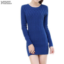 Long Knitted Sweaters 2017 Sexy Long-Sleeve O-Neck Black Knitwear New Fashion Women Crochet Pullovers Jumpers Clothing Tops