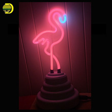 Retro Neon Sculpture Real Glass Tube Flamingo Neon lamp Sign 12V DC Flamingo Neon Light Neon Sign Handcrafted Decoration Home(China)