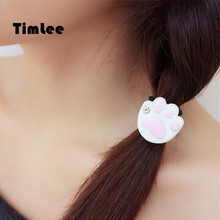 Timlee H055 Sweet Cute Drops Of Oil Jewel Pink Cat Paw Hair band/Hair clip Rope Girls Lovely Hair Accessary Gift(China)