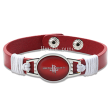 6pcs/lot! Houston Basketball Genuine Leather Adjustable Bracelet Wristband Cuff 12mm Red Leather Snap Button Charm Jewelry