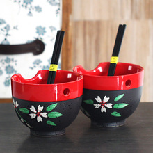 two-piece high-grade Japanese style frosted ceramic black rice bowl set with chopsticks tableware kitchen supplies