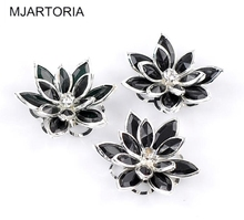 MJARTORIA 10PCs Silver Plated Black Rhinestone Flower Cabochon Embellishments Findings For DIY Jewelry Making Supplies 3.5x3cm(China)