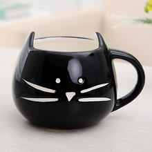 Coffee Cup White Cat Animal Milk Cup Ceramic Lovers Mug Cute Birthday gift,Christmas Gift(Black)