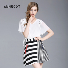 ANNROOT summer women's suit 2017 new casual chiffon short sleeve lady shirt + stitching striped skirt fashion office suite 27025