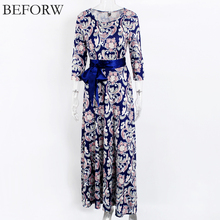 BEFORW Autumn Women Long Dress Russian Style Vintage Printing Boho Dresses Fashion Classic Pattern Maxi Dress For Womens XXL(China)