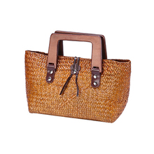 2017 new retro grass package Thai version of the hand-woven hand-held women's grass grass package package beach bag wholesale(China)