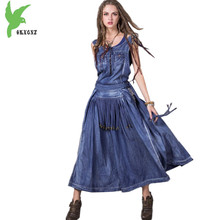Verão denim dress traje feminino borlas bordados estilo nacional dress plus size sem mangas balanço grande cowboy dress okxgnz589