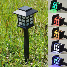 1piece Palace Lantern Solar Powered Garden Landscape Light for Gardening Pathway Decoration Light lamps colorful/cold white(China)