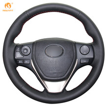 Mewant Black Artificial Leather Car Steering Wheel Cover for Toyota RAV4 2013-2016 Toyota Corolla 2014-2016 Scion iM 2016