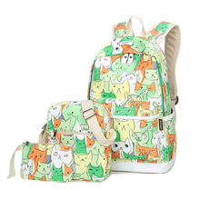 Waterproof Set Backpack School Bag for Teenage Girls Packbag Cut Cat Printing Bagpack Laptop Canvas Animal Backpack Women(China)