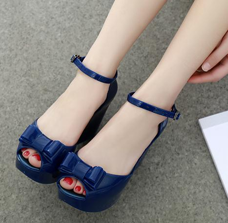 Summer bowknot fish mouth high-heeled shoes women Contracted jelly waterproof thick bottom wedge sandals fashion<br><br>Aliexpress