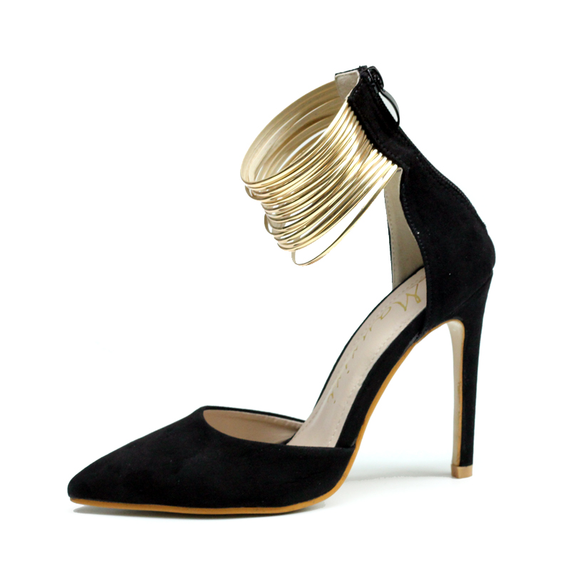 Sexy Pointed Toe Zapatos Mujer Stiletto High Heels Faux Suede/PU Leather Ankle Strappy Shoes Woman Women Pumps Black Size35-40<br><br>Aliexpress