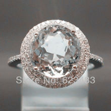 3.84CT SOLID 14K WHITE GOLD NATURAL AQUAMARINE . ENGAGEMENT RING