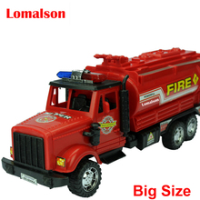 1:25 30cm long big size Fire Truck red plastic model toy aerial fire truck taxied toy baby educational(China)