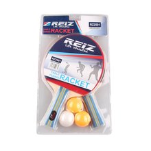 REIZ Short Or Long Handle Shake-hand Table Tennis Set 2 Rackets + 3 Table Tennis Balls Ping Pong Paddle Table Tennis Racket Hot