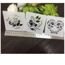 Rose Heart Wedding Deco Scrapbooking card DIY album masking spray painted template drawing stencils laser cut template AP7051035(China)
