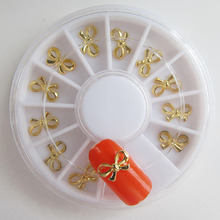 Factary Direct Selling Gold&Silver Alloy Bow Tie Nail Studs Wheel Japanese Nail Art Supplies DIY W009/010