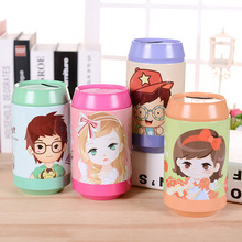 Metal Money Box Coin Bank Pop Cans Cartoon Tin Boxes Storage Piggy Bank Money Saving Box for Kids Gift