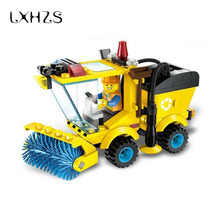 Small Particles City Series Sweeper Truck Construction Building Blocks Enlighten Assemble Toy For Children Boys