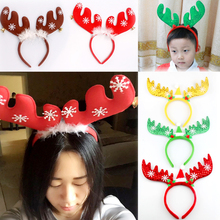 1pc Christmas Deer Head Hoop Head Children Christmas Hair Band Bell Red Antler Head Buckle Gifts Party Decoration S4995