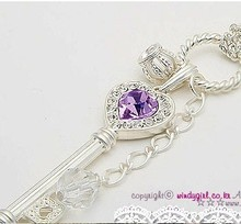 HOT SALE Zinc Alloy Metal Purple Color Love Golden Crown Glod White Silver Key Pendant Long Necklace For Women