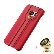 Luxury PU Leather Case For Samsung S6 S6 Edge S7 S7 Edge Slim Hard PU Case Cover with Ferrari Car Logo Phone Holder
