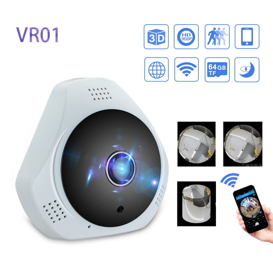 360 Degree Wireless Panoramic Camera MINI 960P Network Wi-fi Fisheye Security IP Camera WIFI 1.3MP Video Built-in MIC<br>