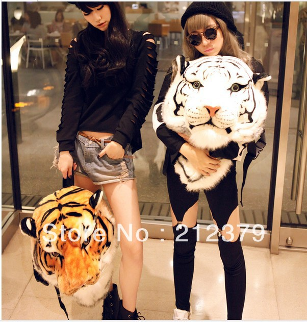 2017 3D Tiger Head Backpack Cartoon Animal Lion Bags White yellow Women Men Casual Daypacks for Travelling Kids Bags Bolsas<br>