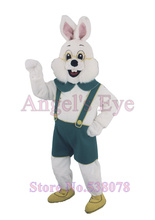White Easter Rabbit Mascot Costume with Blue Overalls and Glasses High Quality Anime Cosplay Costumes Carnival Fancy Dress Kits(China)