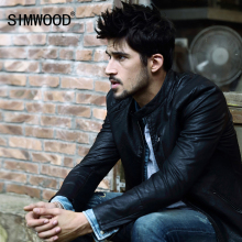 Simwood 2017 New Arrival Famous Brand Winter Motorcycle Leather Jackets Slim Men Leather Jacket Bomber Biker PU Coat P1019