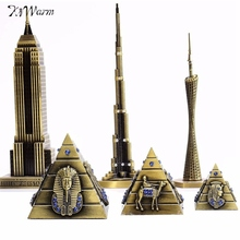 Fashion The Burj Khalifa Tower 3 Size Pyramids World Famous Architecture Decor Figurine Metal Miniature Home Decor Great Gift