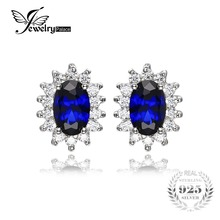 JewelryPalace Princess Diana William Kate Middleton's 1.5ct Blue Created Sapphires Stud Earrings 925 Sterling Silver Jewelry(China)