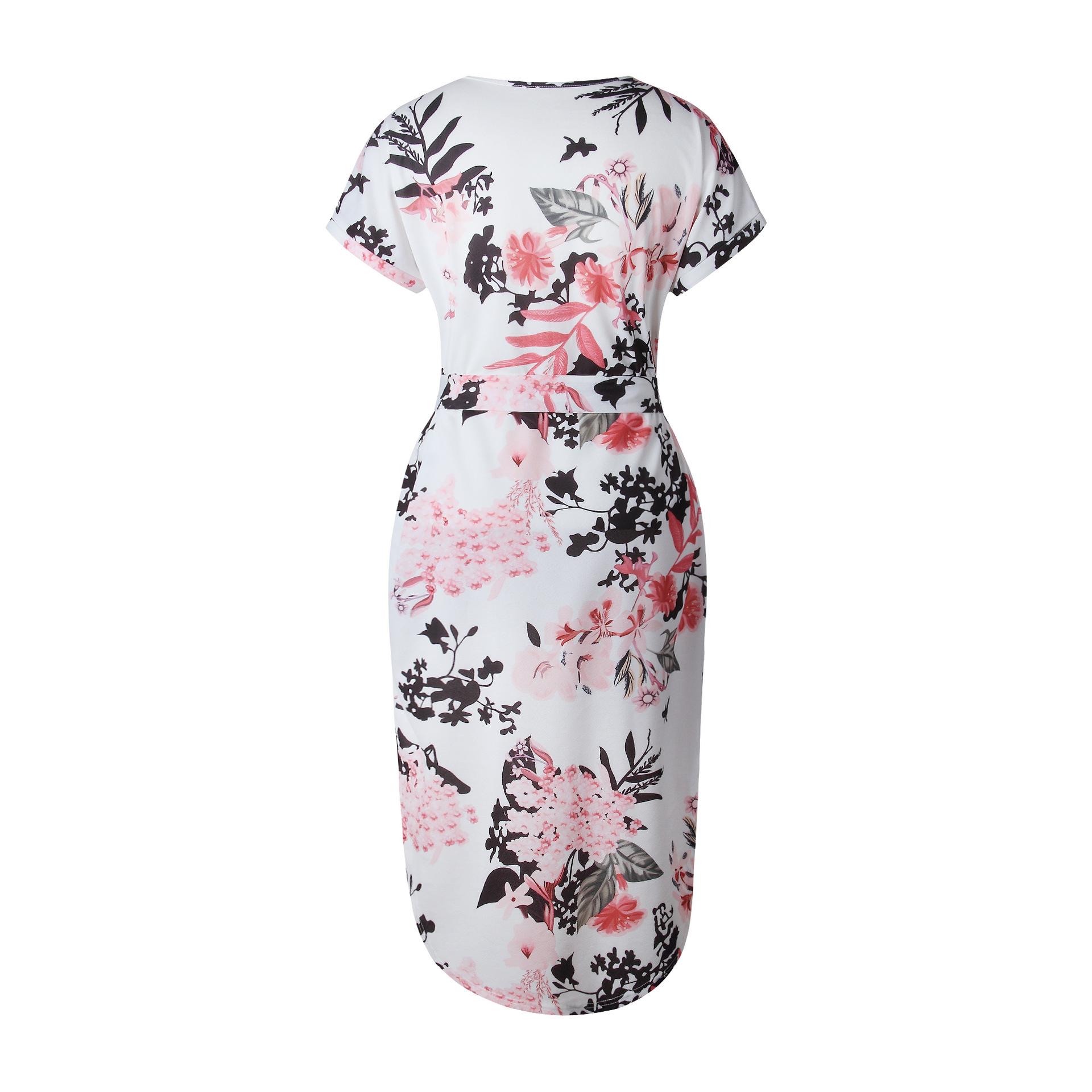 2018 Summer Dress Women Print V Neck Short Sleeve Robe Female Dresses Casual Sashes Midi Dress Ladies Elegant Vestidos Dropship 17