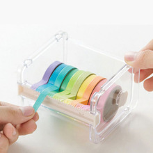 High quality Transparent Plastic Adhesive Tape Dispenser Office Desktop Scotch Tape Holder With Tape Cutter(China)