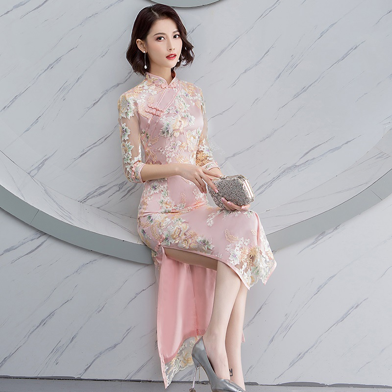 Pink Wedding Qipao Long Cheongsam Modern Chinese Traditional Dress Sexy Cheongsam Dress Robe Chinoise Vestido Oriental Prom