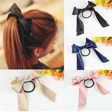 2017 New Arrival Beauty Hair Accessories Ribbon Bowknot Elastic Hair Band for Women Gifts Wine Red/Green/Beige/Black/Blue/Pink(China)