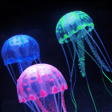 3Pcs/lot Aquarium Glowing Effect Fish Tank Decor Artificial Coral & Jellyfish Glowing Silicone Ornaments(China)