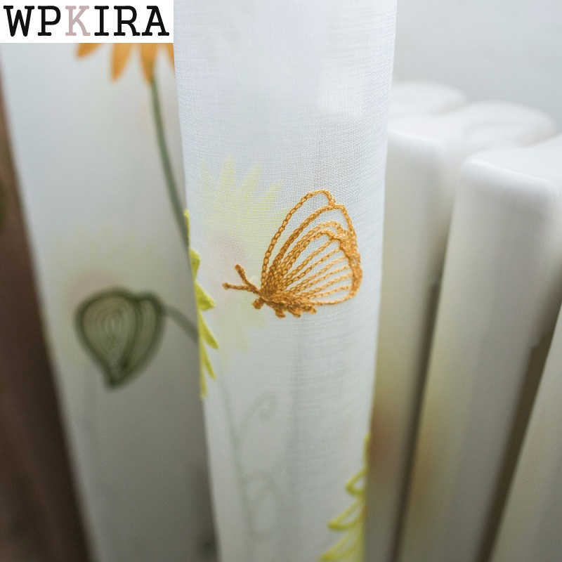 Sunflowers Curtains Butterfly Modern Living Room Kids Room Tulle Curtains Window Bedroom Sheer Fabrics Rustic Drapes S293&30
