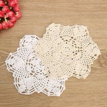 NEW!!Cotton Mat Hand Crocheted Lace Doilies 1Pcs Flower Shape Coasters Cup Mug Pads Home Coffee Shop Table Decoration Crafts