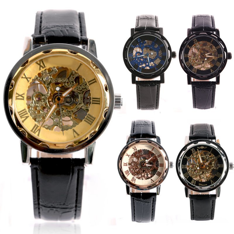 Classic Mens Gold Dial Skeleton Black Leather Mechanical Sport Army Wrist Watch<br><br>Aliexpress