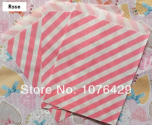 25 Pcs Rose Diagonal Striped Treat Craft Bags Favor Food Paper Bags Party Wedding Birthday Decoration Color 3(China)