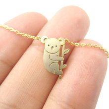 Jisensp 2017 Small Koala Bear and Branch Shaped Necklace Women Animal Charm Cute Pendant Simple Long Necklace collier femme(China)